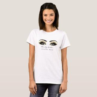 T-shirt Le maquilleur brunit les yeux d'or de studio de