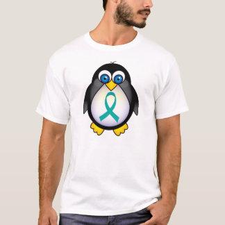 T-shirt Le pingouin turquoise de ruban badine la pièce en