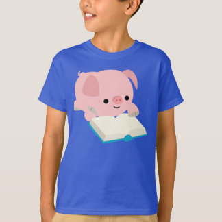 T-shirt Le porcelet mignon de lecture de bande dessinée