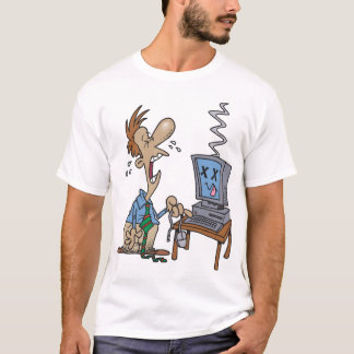 T-shirt le problème avec l'ordinateur, une souris dans une