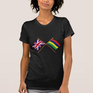 T-shirt Le R-U et les drapeaux croisés par Îles Maurice