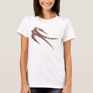 T-shirt Le ressort lunatique d'hirondelle fleurit le
