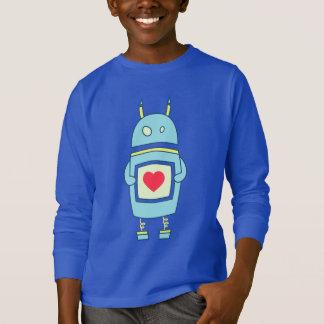 T-shirt Le robot mignon bleu avec l'obscurité de coeur