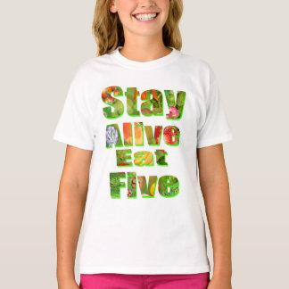T-shirt Le séjour vivant mangent le logo de Veg de cinq