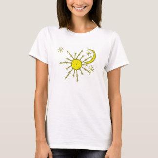 T-shirt le soleil de lune de barbwire et copie d'étoiles