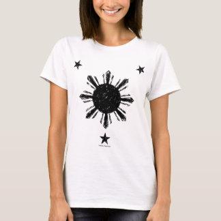 T-shirt Le soleil et étoiles philippins affligés de style