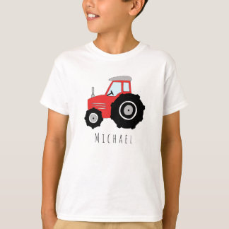 T-shirt Le tracteur de l'agriculteur rouge du garçon