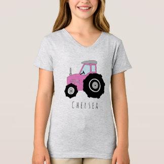 T-shirt Le tracteur et le nom de l'agriculteur rose de la