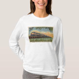 T-shirt Le train de chemin de fer d'oiseau de ronflement