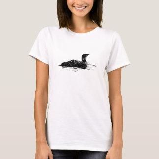 T-shirt L'eau commune à l'encre noire graphique d'oiseau