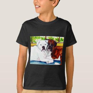 T-shirt Les boxeurs adulent et blanc