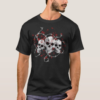 T-shirt Les chemises foncées des hommes barbelés de crânes