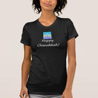 T-shirt Les dames court-circuitent Chanukkah heureux gainé
