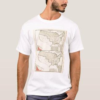 T-shirt Les Etats-Unis deux cartes lithographiées par