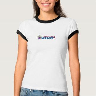 T-shirt Les filles ne peuvent pas CE QUI ? Logo de batteur