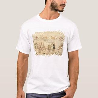 T-shirt Les hommes tirant un chariot ont chargé avec du