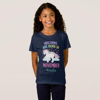T-Shirt Les licornes sont nées en novembre personnalisées