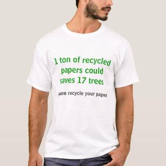 T-shirt les papiers réutilisés sauve des arbres