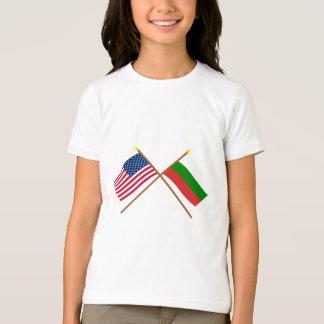 T-shirt Les USA et drapeaux croisés par Bulgarie