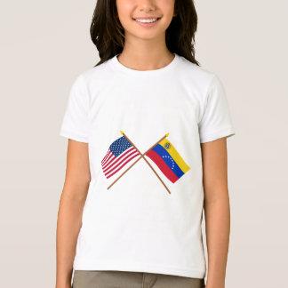 T-shirt Les USA et drapeaux croisés par Venezuela