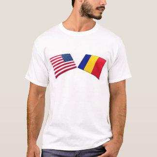 T-shirt Les USA et drapeaux roumains