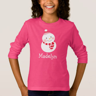 T-shirt Les vacances de la fille du bonhomme de neige |