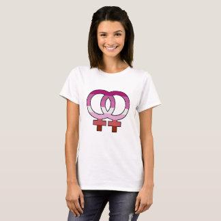 T-shirt lesbien de symbole de Vénus de drapeau de