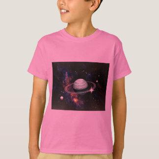 T-shirt L'espace, anneaux de Saturn et lunes