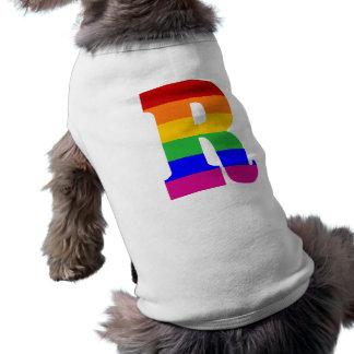 T-shirt Lettre R d'arc-en-ciel