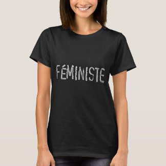 T-shirt Lettres blanches de chemise noire féministes dans