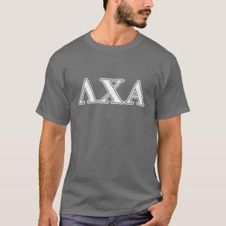 T-shirt Lettres blanches de Chi de lambda alpha et vertes