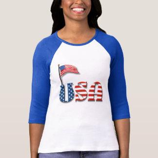 T-shirt Lettres des Etats-Unis et drapeau américain