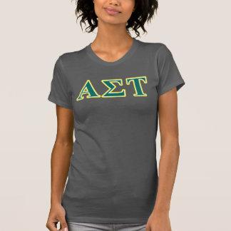 T-shirt Lettres jaunes et vertes d'alpha Tau de sigma