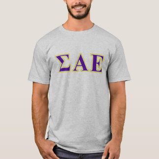 T-shirt Lettres pourpres de sigma alpha et jaunes epsilon
