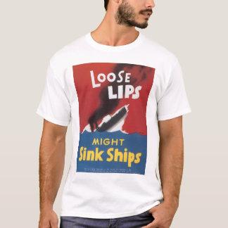 T-shirt L'évier lâche de lèvres embarque la guerre