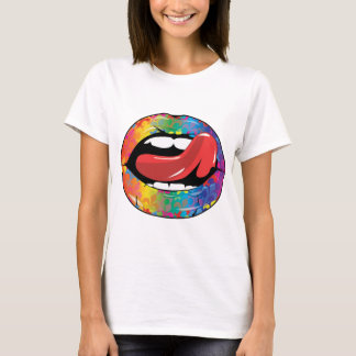 T-shirt Lèvres de Fleur De Rainbow Licking