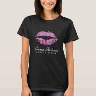 T-shirt Lèvres de scintillement de rose de maquilleur