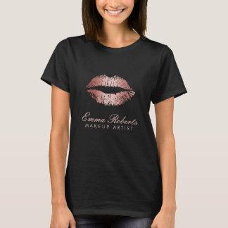 T-shirt Lèvres roses modernes d'or de salon de maquilleur