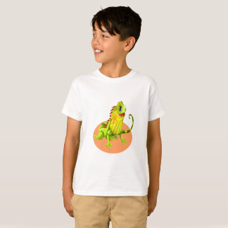 T-shirt Lézard heureux vert adorable d'iguane de nature