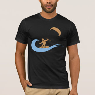 T-shirt L'icône de kitesurf de cool de vague