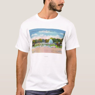 T-shirt Ligne d'arrivée de voie de course de Saratoga vue