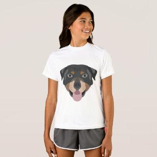 T-shirt L'illustration poursuit le rottweiler de visage