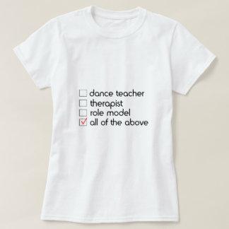 T-shirt Liste de contrôle de professeur de danse