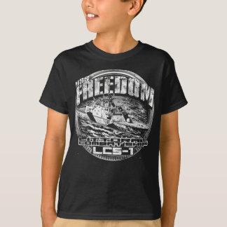 T-shirt littoral de liberté de bateau de combat