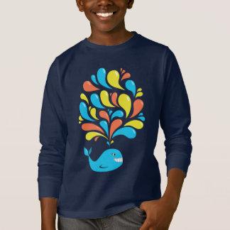 T-shirt L'obscurité heureuse colorée de baleine de bande