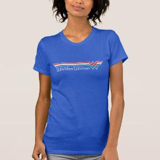 T-shirt Logo blanc de femme de merveille et bleu rouge