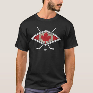 T-shirt Logo canadien de drapeau d'hockey