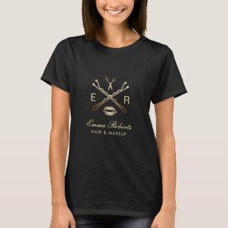 T-shirt Logo de beauté d'or de maquilleur et de coiffeur