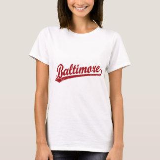T-shirt Logo de manuscrit de Baltimore en rouge
