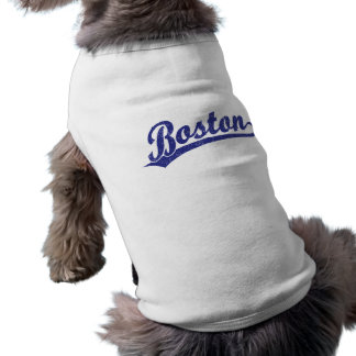 T-shirt Logo de manuscrit de Boston dans le bleu